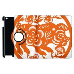 Chinese Zodiac Horoscope Pig Star Orange Apple Ipad 3/4 Flip 360 Case by Mariart