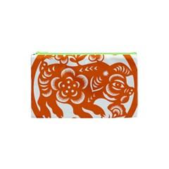 Chinese Zodiac Horoscope Pig Star Orange Cosmetic Bag (xs) by Mariart