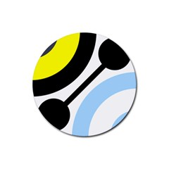 Circle Line Chevron Wave Black Blue Yellow Gray White Rubber Round Coaster (4 Pack)  by Mariart