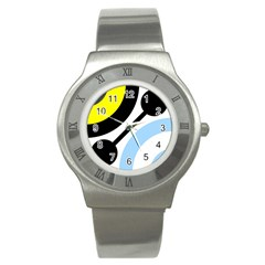 Circle Line Chevron Wave Black Blue Yellow Gray White Stainless Steel Watch by Mariart