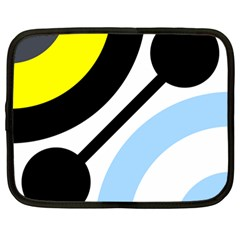 Circle Line Chevron Wave Black Blue Yellow Gray White Netbook Case (large) by Mariart