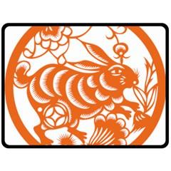 Chinese Zodiac Horoscope Rabbit Star Orange Double Sided Fleece Blanket (large)  by Mariart