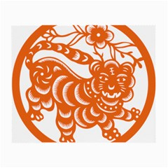Chinese Zodiac Signs Tiger Star Orangehoroscope Small Glasses Cloth (2 Side) by Mariart