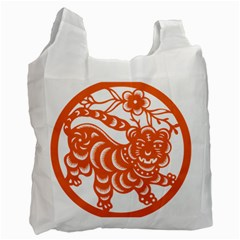 Chinese Zodiac Signs Tiger Star Orangehoroscope Recycle Bag (two Side)  by Mariart