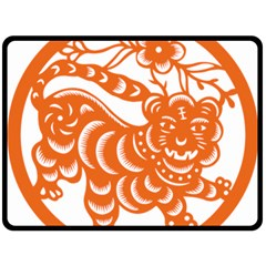 Chinese Zodiac Signs Tiger Star Orangehoroscope Double Sided Fleece Blanket (large)  by Mariart