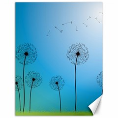 Flower Back Blue Green Sun Fly Canvas 12  X 16   by Mariart