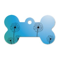 Flower Back Blue Green Sun Fly Dog Tag Bone (two Sides) by Mariart