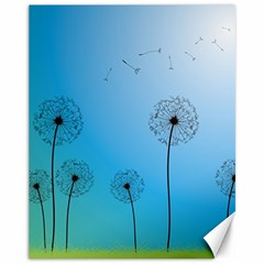 Flower Back Blue Green Sun Fly Canvas 11  X 14   by Mariart