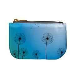 Flower Back Blue Green Sun Fly Mini Coin Purses by Mariart