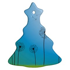 Flower Back Blue Green Sun Fly Ornament (Christmas Tree)  by Mariart