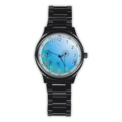 Flower Back Blue Green Sun Fly Stainless Steel Round Watch by Mariart