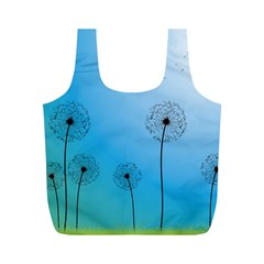 Flower Back Blue Green Sun Fly Full Print Recycle Bags (m)  by Mariart