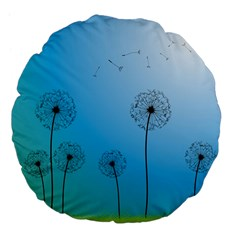 Flower Back Blue Green Sun Fly Large 18  Premium Flano Round Cushions by Mariart