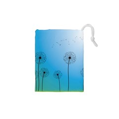 Flower Back Blue Green Sun Fly Drawstring Pouches (xs)  by Mariart