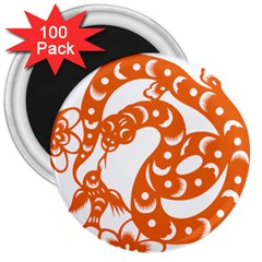 Chinese Zodiac Horoscope Snake Star Orange 3  Magnets (100 Pack) by Mariart
