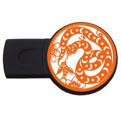 Chinese Zodiac Horoscope Snake Star Orange Usb Flash Drive Round (2 Gb) by Mariart