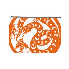 Chinese Zodiac Horoscope Snake Star Orange Cosmetic Bag (large)  by Mariart