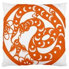 Chinese Zodiac Horoscope Snake Star Orange Large Cushion Case (one Side) by Mariart