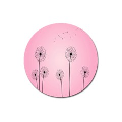 Flower Back Pink Sun Fly Magnet 3  (round) by Mariart