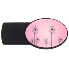 Flower Back Pink Sun Fly Usb Flash Drive Oval (4 Gb) by Mariart