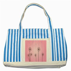 Flower Back Pink Sun Fly Striped Blue Tote Bag by Mariart