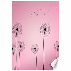 Flower Back Pink Sun Fly Canvas 12  X 18   by Mariart