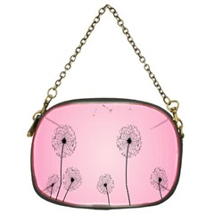 Flower Back Pink Sun Fly Chain Purses (one Side)  by Mariart