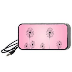 Flower Back Pink Sun Fly Portable Speaker (black) by Mariart