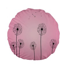 Flower Back Pink Sun Fly Standard 15  Premium Round Cushions by Mariart