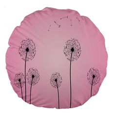 Flower Back Pink Sun Fly Large 18  Premium Round Cushions by Mariart