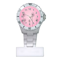 Flower Back Pink Sun Fly Plastic Nurses Watch by Mariart