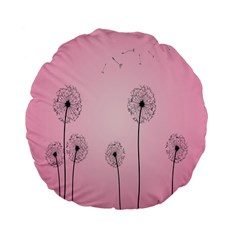Flower Back Pink Sun Fly Standard 15  Premium Flano Round Cushions by Mariart