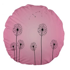Flower Back Pink Sun Fly Large 18  Premium Flano Round Cushions by Mariart