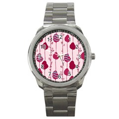 Flower Floral Mpink Frame Sport Metal Watch by Mariart