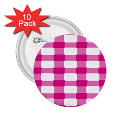 Hot Pink Brush Stroke Plaid Tech White 2 25  Buttons (10 Pack)  by Mariart