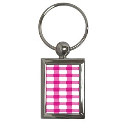 Hot Pink Brush Stroke Plaid Tech White Key Chains (rectangle)  by Mariart