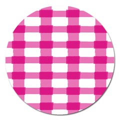 Hot Pink Brush Stroke Plaid Tech White Magnet 5  (round) by Mariart