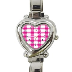 Hot Pink Brush Stroke Plaid Tech White Heart Italian Charm Watch by Mariart