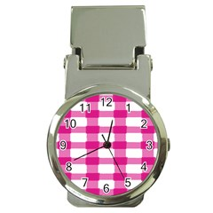 Hot Pink Brush Stroke Plaid Tech White Money Clip Watches by Mariart