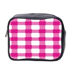 Hot Pink Brush Stroke Plaid Tech White Mini Toiletries Bag 2 Side by Mariart