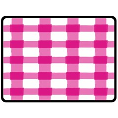 Hot Pink Brush Stroke Plaid Tech White Fleece Blanket (large)  by Mariart