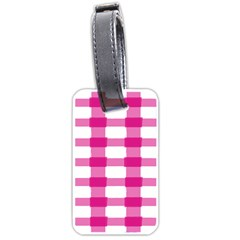 Hot Pink Brush Stroke Plaid Tech White Luggage Tags (one Side)  by Mariart