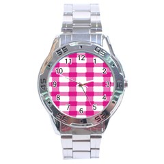 Hot Pink Brush Stroke Plaid Tech White Stainless Steel Analogue Watch by Mariart