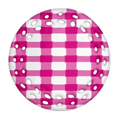 Hot Pink Brush Stroke Plaid Tech White Ornament (round Filigree) by Mariart