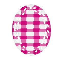 Hot Pink Brush Stroke Plaid Tech White Ornament (oval Filigree) by Mariart