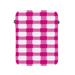 Hot Pink Brush Stroke Plaid Tech White Apple Ipad 2/3/4 Protective Soft Cases by Mariart