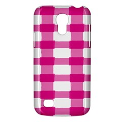 Hot Pink Brush Stroke Plaid Tech White Galaxy S4 Mini by Mariart