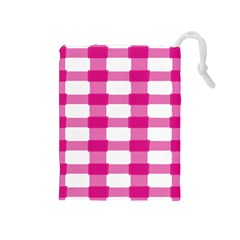 Hot Pink Brush Stroke Plaid Tech White Drawstring Pouches (medium)  by Mariart
