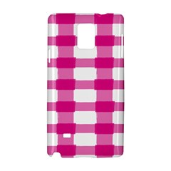 Hot Pink Brush Stroke Plaid Tech White Samsung Galaxy Note 4 Hardshell Case by Mariart