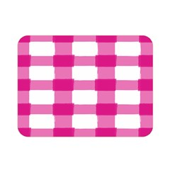 Hot Pink Brush Stroke Plaid Tech White Double Sided Flano Blanket (mini)  by Mariart